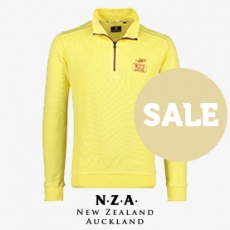 New Zealand sweater trui geel rits